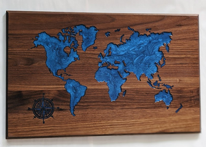 115 ($275) World Map - with Blue Epoxy