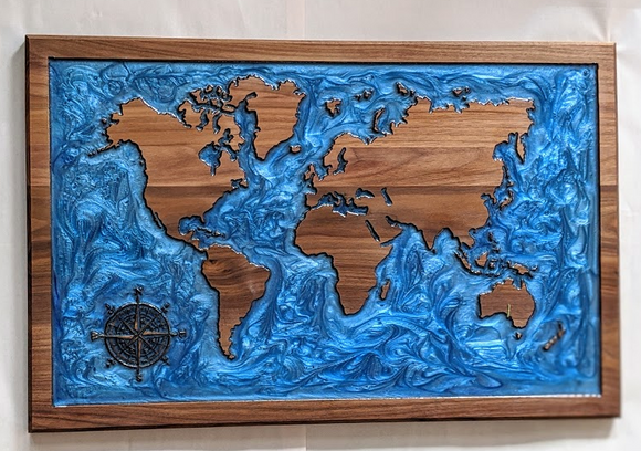 115 ($300) World Map - with Blue Epoxy