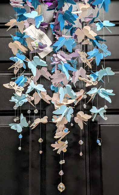 115 ($80) Butterfly Mobile - Purple Teal Grey Cream