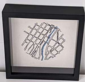 118 ($120) Map - Fergus - Embroidered - Square Framed 9""