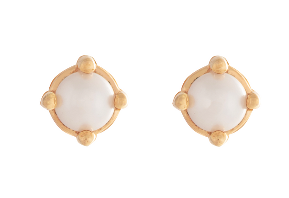 025 ($45) Cassie Studs - Gold Pearl