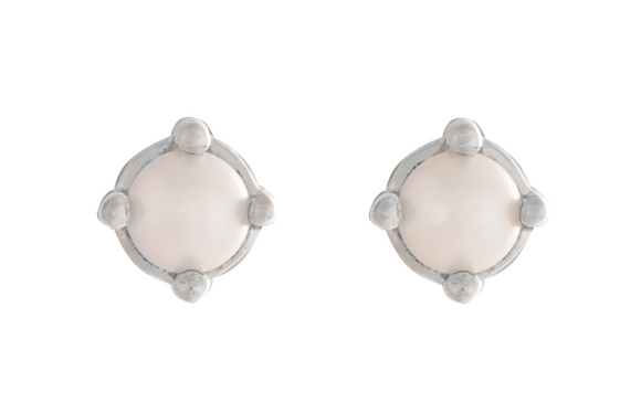 025 ($45) Cassie Studs - Silver Pearl