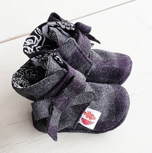 235 ($45) Tartan Booties with Bow - 6-9mths
