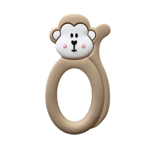 061 ($18) Single Teether Monkey - Oatmeal