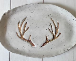 005 ($65) Platter Tray - White with Gold Antlers