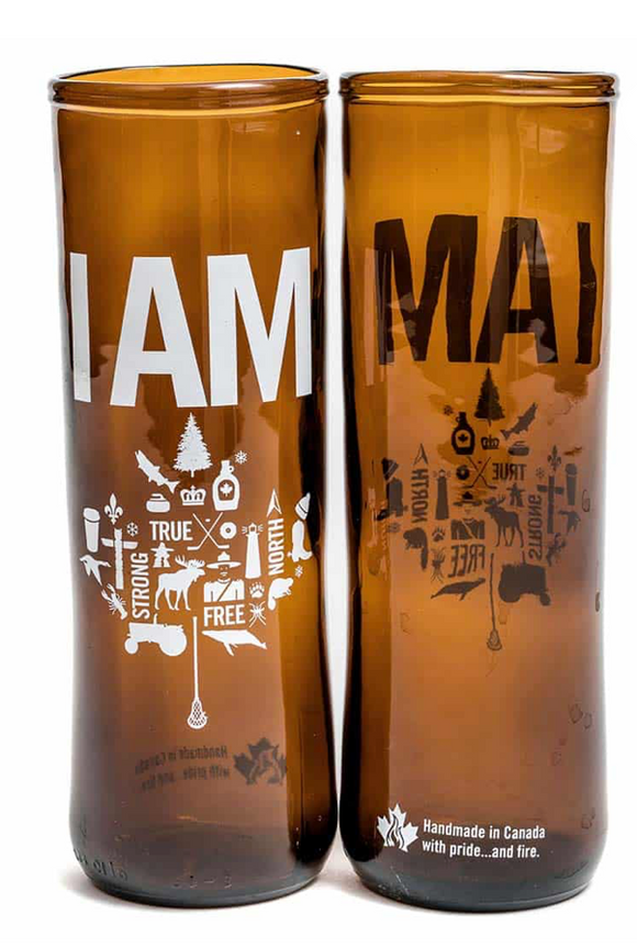 028 ($25) I AM Canadian Beer Glass
