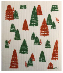 038 ($6.50) Sponge - Woods - Red and Green on White