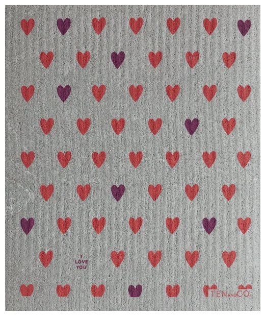 038 ($6.50) Sponge - Hearts Pink on Grey