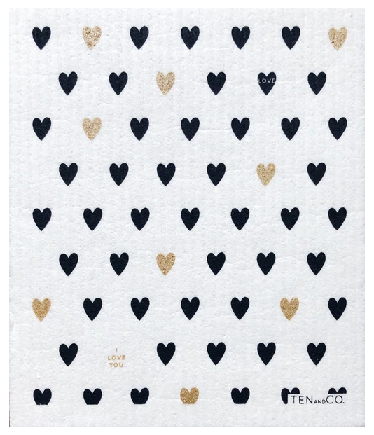 038 ($6.50) Sponge - Hearts Gold and Black