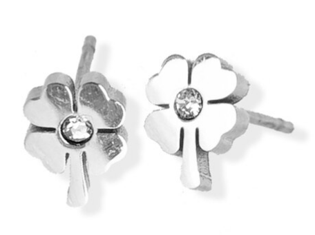 023 ($30) Earrings - 4 Leaf Clover - Silver