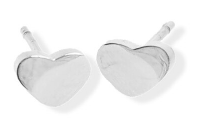 023 ($28) Earrings - Heart Studs - Silver