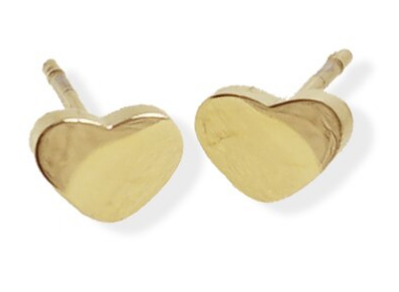 023 ($28) Earrings - Heart Studs - Gold