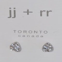 023 ($23) Earrings - Heart Cubic Stone - Silver