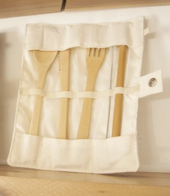 064 ($20) Utensil Wrap Set - Canvas and Bamboo