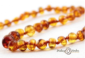 "074 ($23) 11"" Caramel Amber Necklace - Circle"