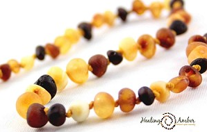 "074 ($23) 11"" Raw Multi Amber Necklace - Circle"