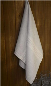 076 ($20) Tea Towel Maison - Light Grey with White Stripes - Linen