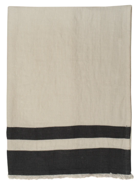076 ($18) Tea Towel Lipari - White with Dark Grey Stripes - Linen