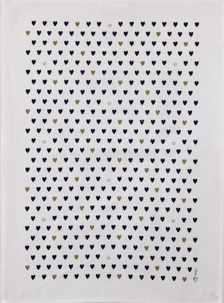 038 ($20) Tea Towel - Tiny Hearts - Black with Gold