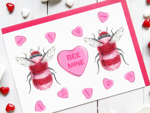 205 ($6) Love Cards - Bee Mine - Red