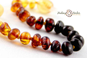 "074 ($34) 18"" Rainbow Amber Necklace - Circle"