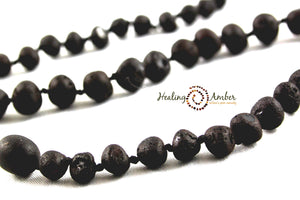 "074 ($23) 11"" Raw Molasses Amber Necklace - Circle"