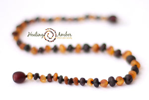 "074 ($25) 13"" Raw Duo Dark Amber Necklace - Circle"