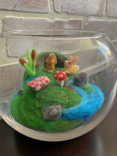 239 ($105) Felted Zenscapes in Glass Bowl