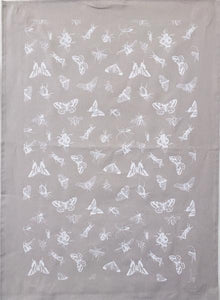 038 ($20) Tea Towel - Bugs - Grey