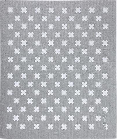 038 ($6.50) Sponge - Tiny X - Grey with White
