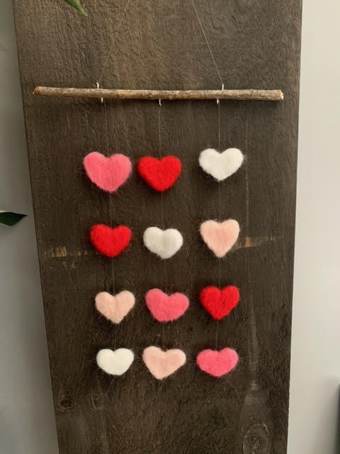 239 ($30) Mobile - Felted Hearts