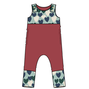 Tahoe Raspberry Hearts Colorblock Snap Romper