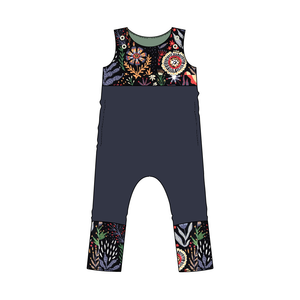 Everglades Floral Night Colorblock Snap Romper