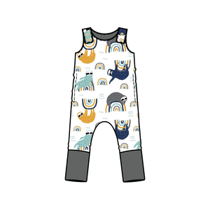 Tahoe Gray Sloth Full Body Snap Romper