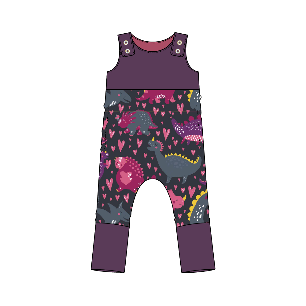 Everglades Purple Dinos Snap Romper