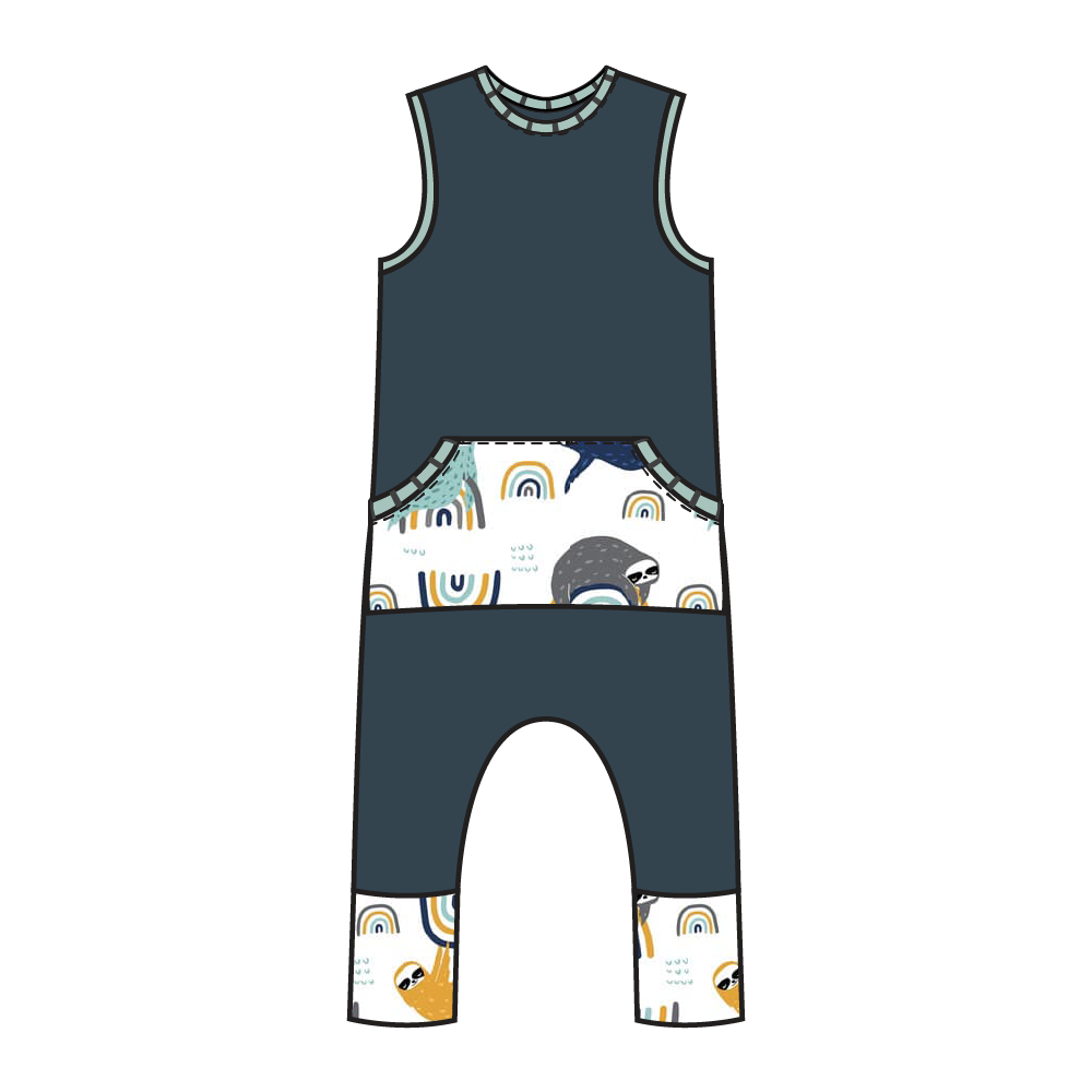 Tahoe Navy Sloth Kangaroo Pull-on Romper