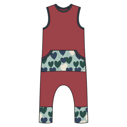 Tahoe Raspberry Hearts Kangaroo Pull-on Romper