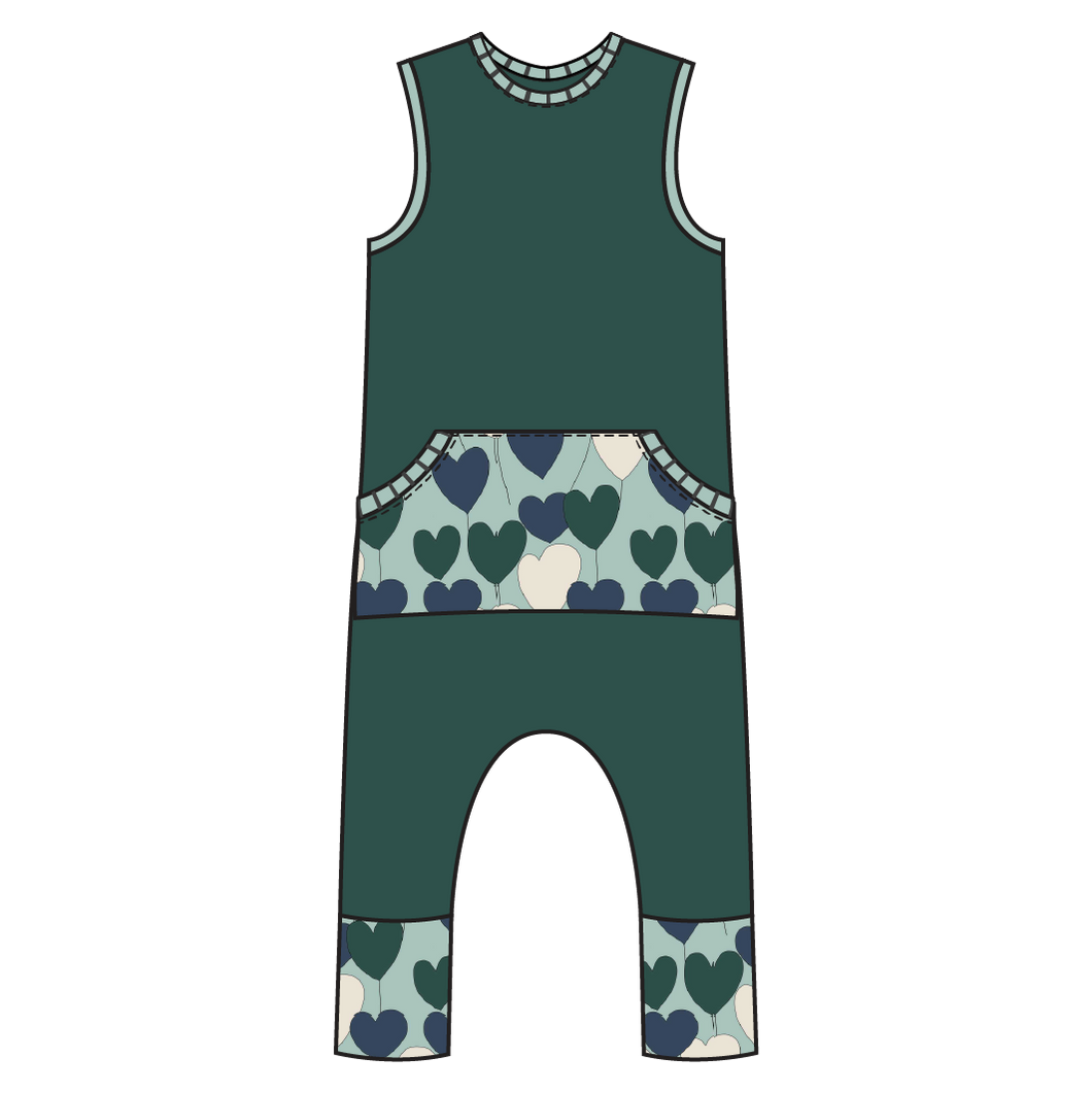 Tahoe Forest Hearts Kangaroo Pull-on Romper