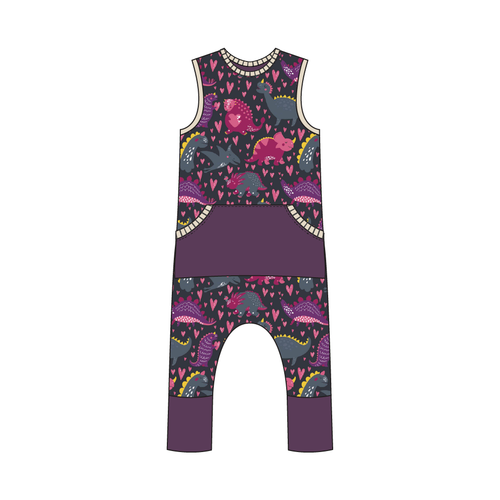 Everglades Purple Dinos Full Print Pull-on Romper