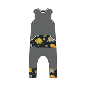Everglades Gray Dinos Full Print Pull-on Romper