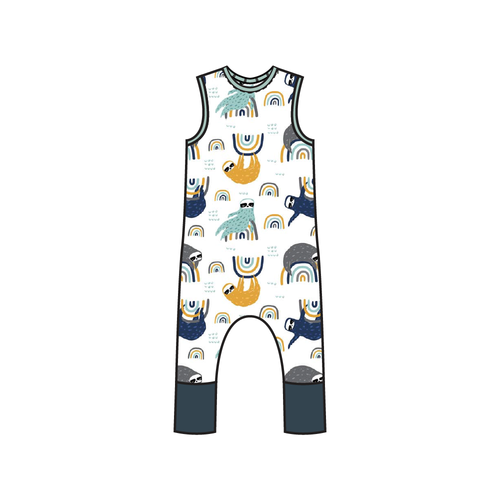 Tahoe Navy Sloth Full Print Pull-on Romper