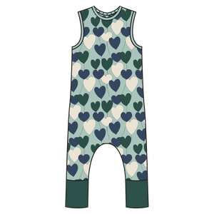 Tahoe Forest Hearts Full Print Pull-on Romper