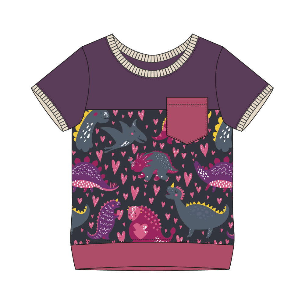 Everglades Purple Dinos Colorblock Tee