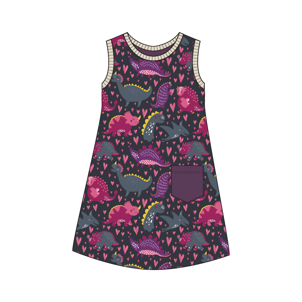 Everglades Purple Dinos Dress