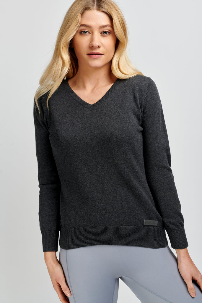 V Neck Cotton Sweater in Charcoal Grey