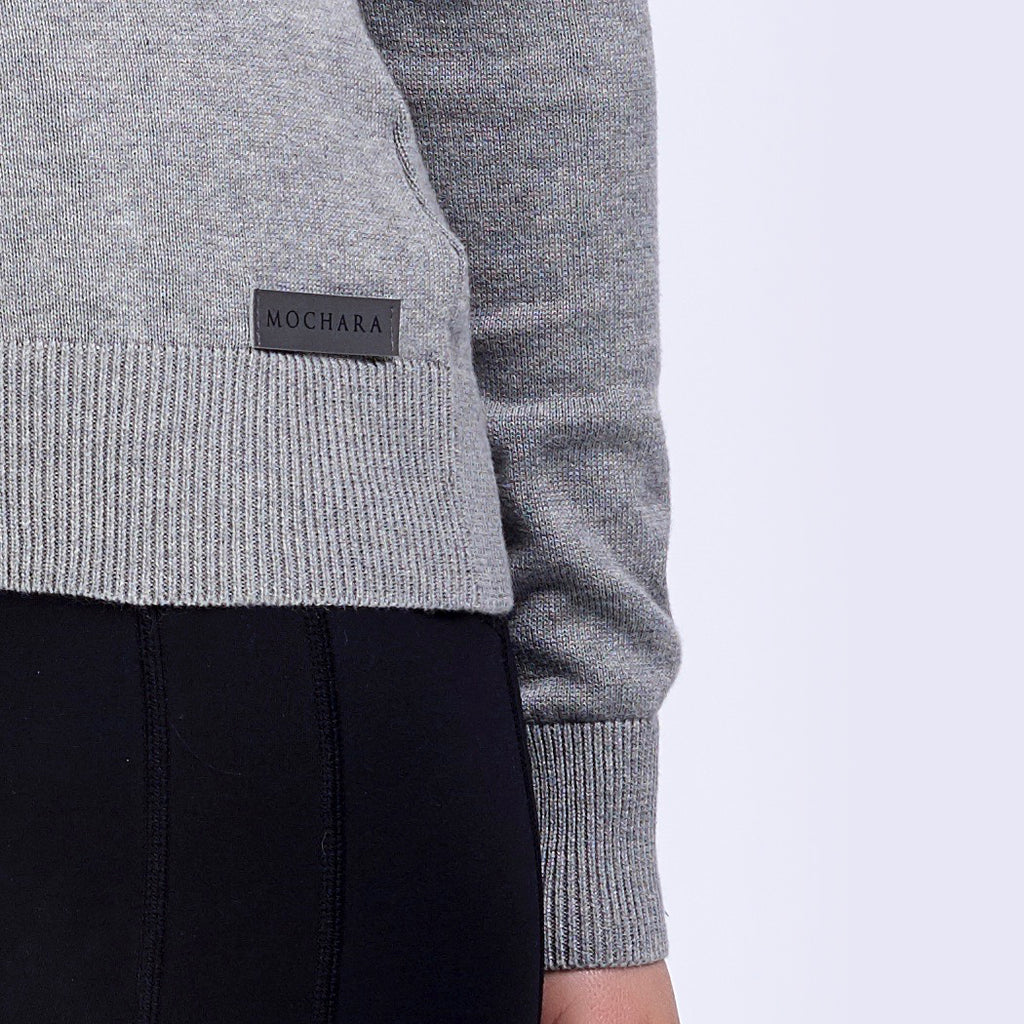 Ash Grey Ladies V Neck Cotton Jumper