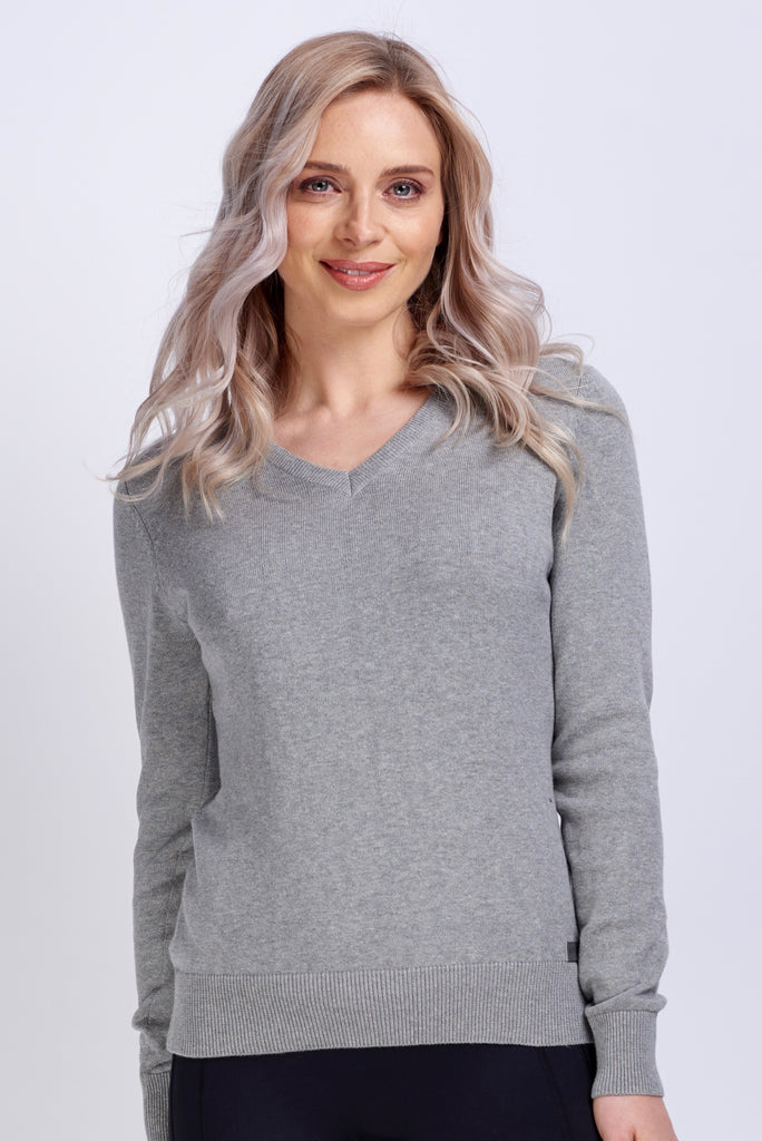 V Neck Cotton Sweater in Ash Grey