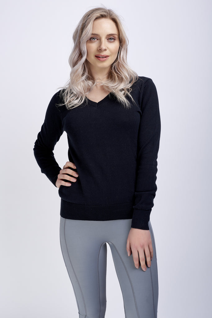Black Ladies V Neck Cotton Jumper