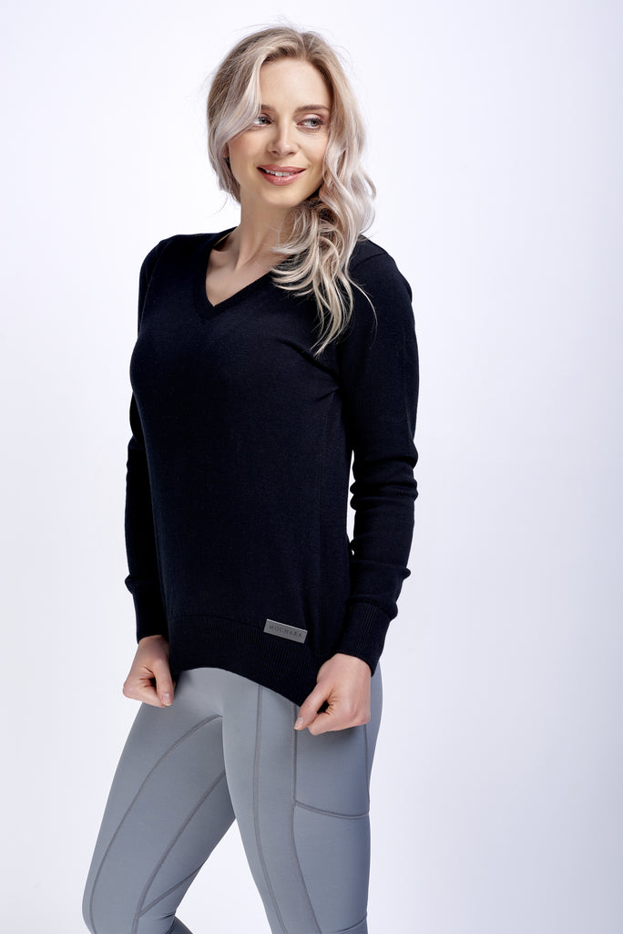 V Neck Cotton Sweater in Jet Black