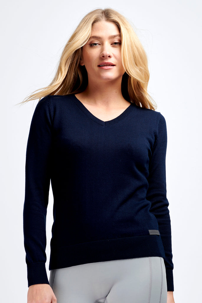 Navy Ladies V Neck Cotton Jumper